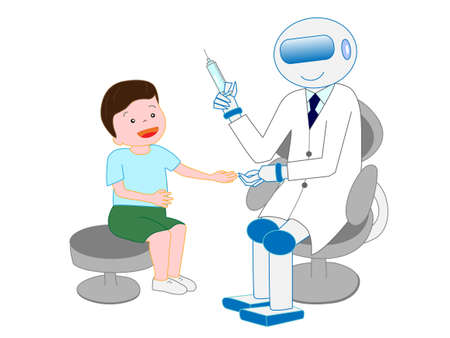 Robots with artificial intelligence doctors have injected a boy. Çizim