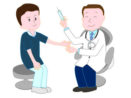 Doctors holding injection,  injecting male patient illustration.