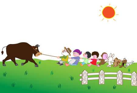 Familie die koe, Vee en veeteelt in gekleurde, beeldverhaalillustratie trekt.