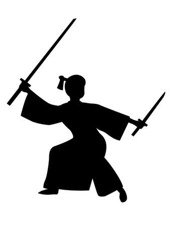 The silhouette of the samurai swords Japan Çizim