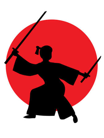 The silhouette of the samurai swords Japan. Illustration