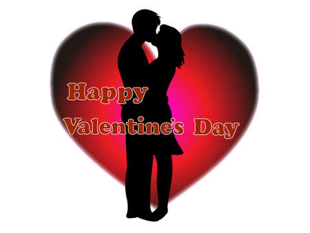 Materials for Valentine's day, couple in silhoutte illustration. Vettoriali