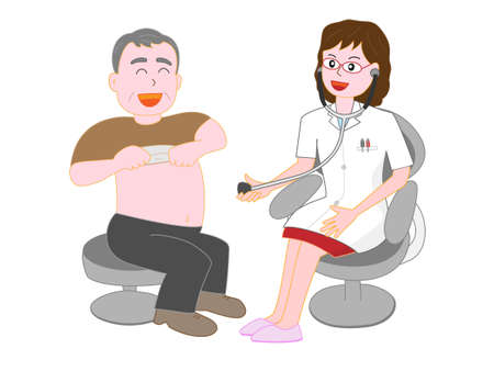 Patients who undergo medical examination from a doctor Illustration