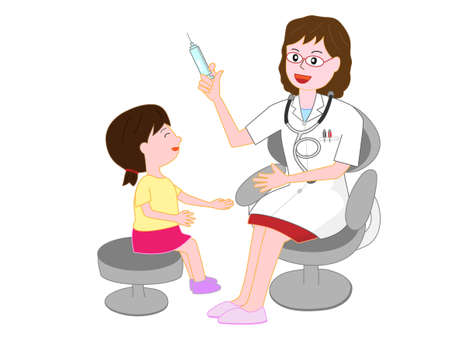 子供は医者から治療を受ける  イラスト・ベクター素材