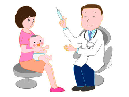 Babies have received treatment from a doctor illustration.