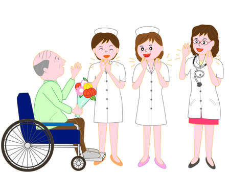Doctors and nurses off to a hospital for the elderly in wheelchairs