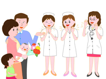 Forgo the hospital obstetrics and Gynecology, the baby and the mothers doctors and nurses. Illustration