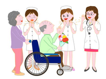 Off to wheelchairs for the elderly patients discharged from hospital and the nurses and the doctor