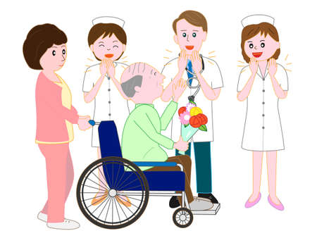 Forgo the elderly in a wheelchair to hospital doctors and nurses