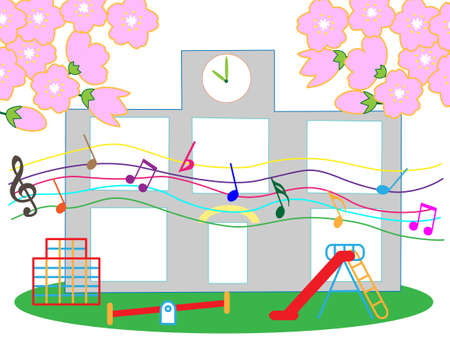 Materials for preschool graduation and entrance ceremony illustration.