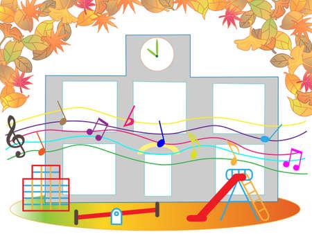 秋のイラストで保育園からの音楽の音。