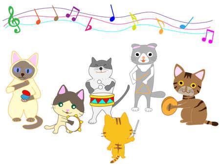 Cat having concert Illustration