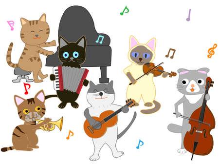 猫コンサートイラスト。楽器を演奏する猫。  イラスト・ベクター素材
