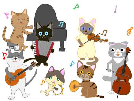 Illustration de concert de chat. Chats jouant des instruments de musique. Banque d'images - 94896736