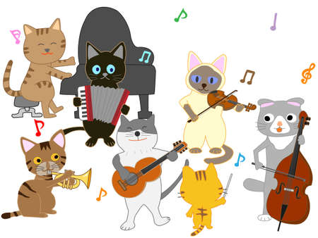 Cat concert illustration. Cats playing musical instruments.