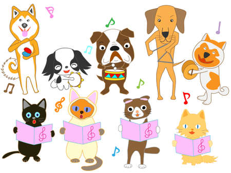 The concert for dogs and cats. Singing and playing musical instruments.
