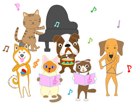 Dog and cat concert. Dogs and cats sing and play musical instruments.