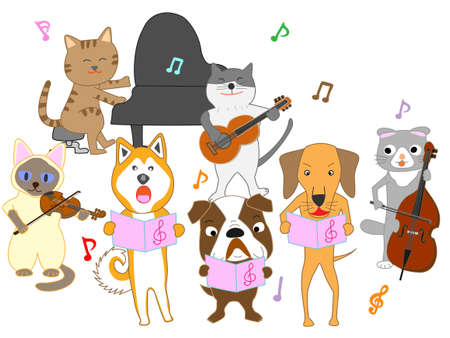 Concert for cats and dogs vector illustration. Illustration
