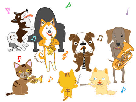 The concert of cats and dogs. Cats and dogs are playing musical instruments.