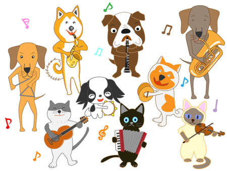 The concert for dogs and cats. Dogs and cats are playing instruments.  イラスト・ベクター素材