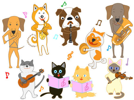 Concert of various animals with musical instruments