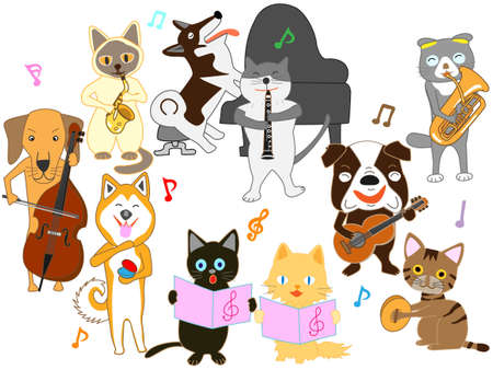 The concert for dogs and cats. Dogs and cats are playing instruments. Illustration