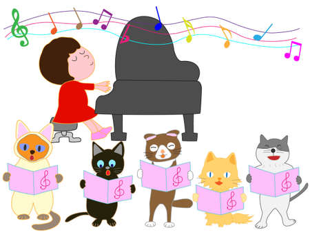 Concerts for kids and a cat. Choirs are singing cat.
