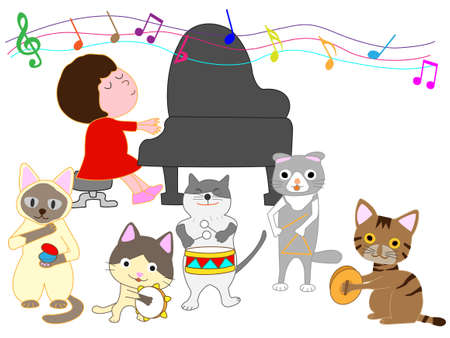 Concerts for kids and a cat. Cats who play instruments. Stockfoto - 96143140
