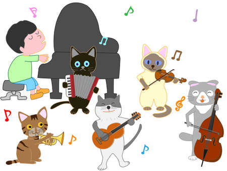The concert of the cat. Cats playing musical instruments. Vectores
