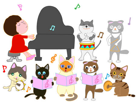 The concert of the cat. Cats playing musical instruments. Illustration