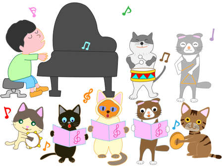 The concert of the cat. Cats playing musical instruments.