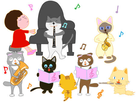Concerts of kids and a Cats playing an instruments, cartoon vector illustration