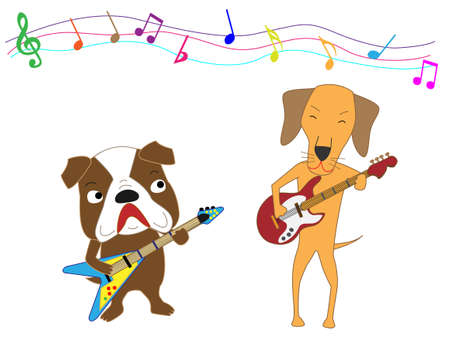 The concert of the dog. Dogs playing guitar in a cartoon vector illustration