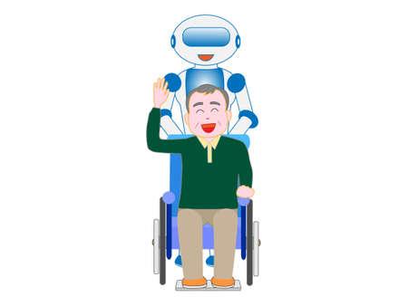 Voor ouderen in rolstoelen en robots zorgen Stockfoto - 96512980