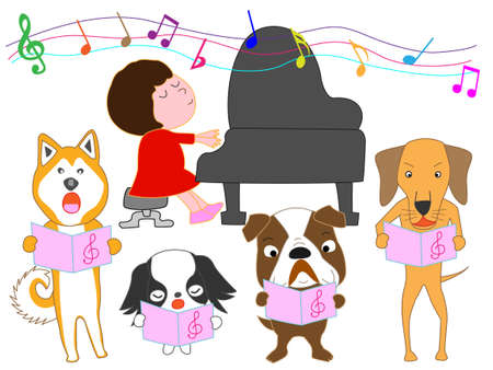 Dog choir and a girl playing the piano