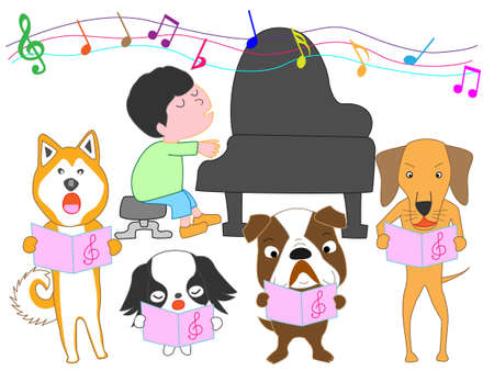 Dog choir and a boy playing the piano Ilustração