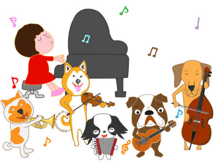 Dogs are playing musical instruments while a girl plays the piano