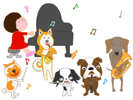 Girl and pets musician image illustration