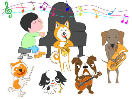 Boy and pets musician image illustration