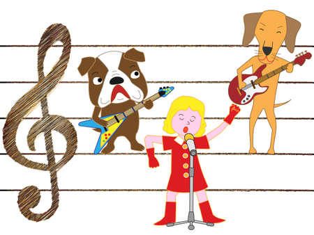 The concert of the dog. Dog playing guitar.