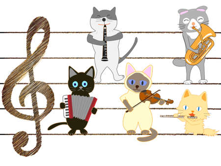 Group of cats playing musical instruments. Illustration