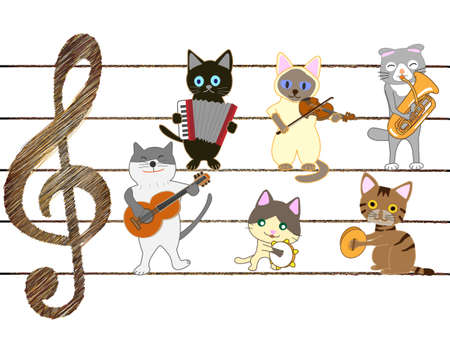 The concert of the cat. Cats playing musical instruments, and singing.