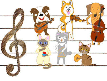 The concert for dogs and cats. Dogs and cats are singing and playing musical instruments.