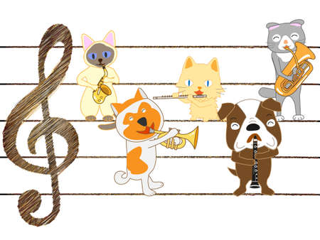 Group of animals playing musical instruments.
