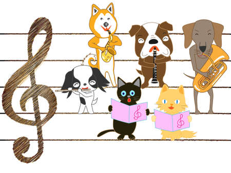 Dogs and cats are singing and playing musical instruments.
