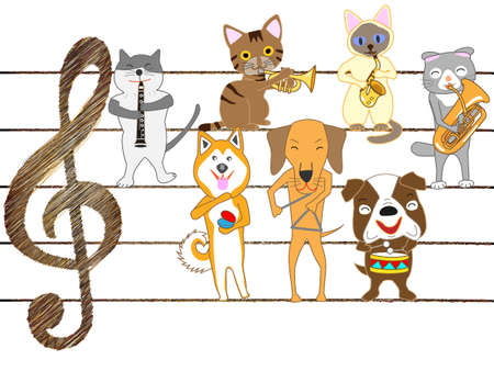 Dogs and kittens are singing and playing musical instruments. Illustration