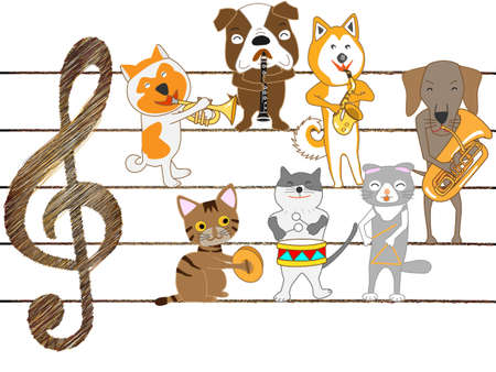 The concert for dogs and kittens.  イラスト・ベクター素材