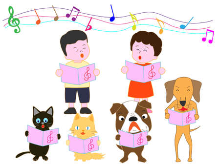 Concert for kids and pets Everyone with the chorus.