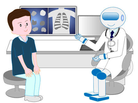 Patients who undergo medical examination from artificial intelligence robot doctor.  イラスト・ベクター素材