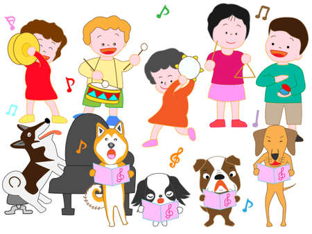 Concert for children and pets vector illustration.